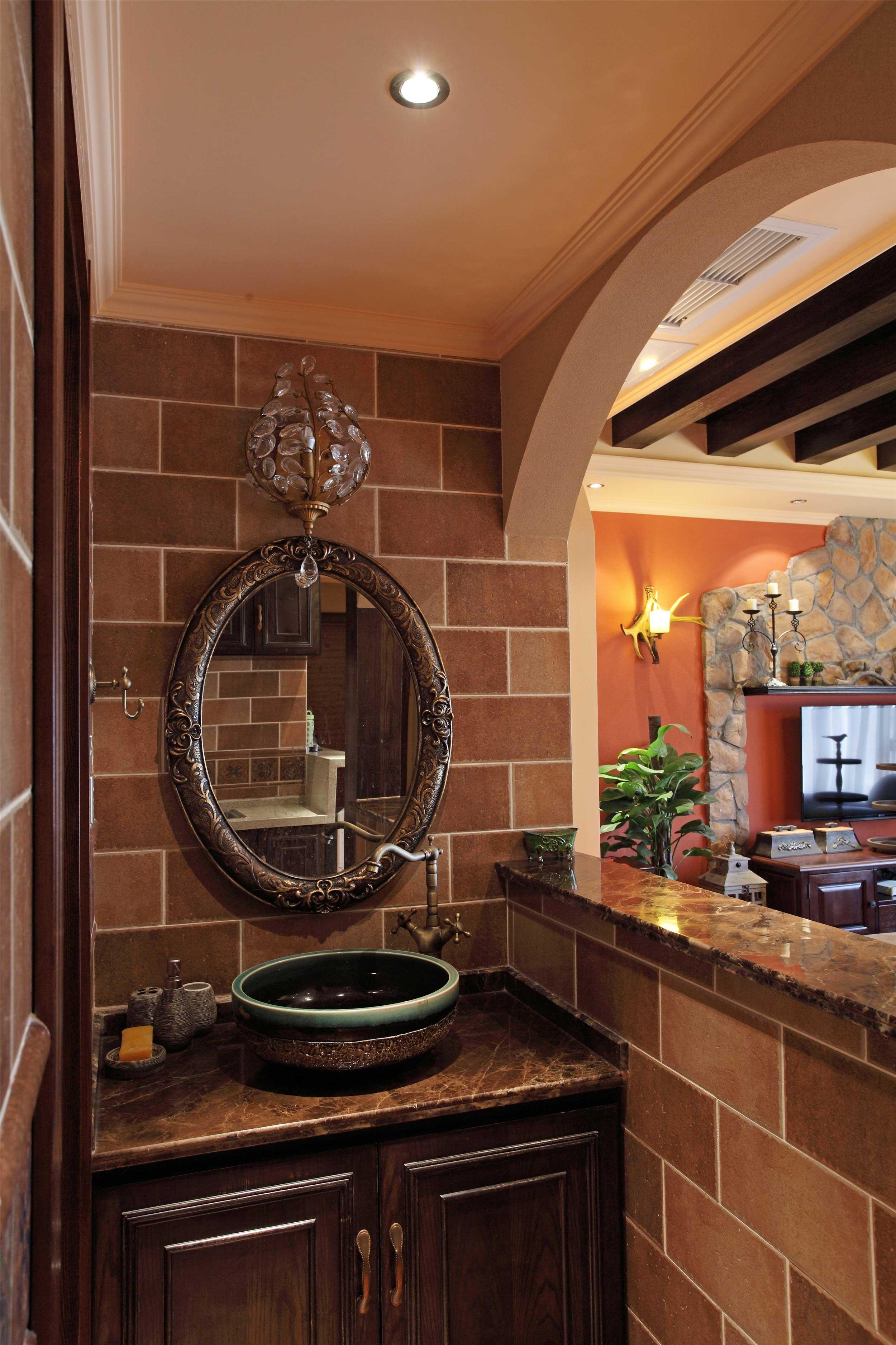 150平法式乡村风格装修洗手台设计图
