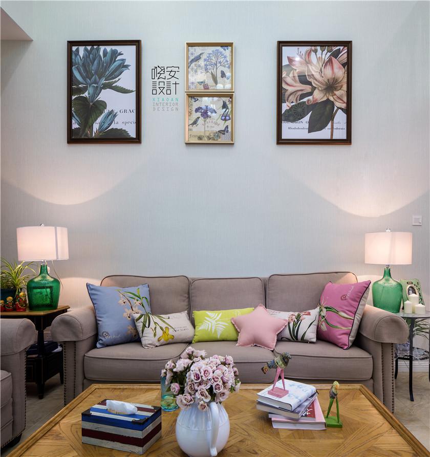 现代美式风格复式装修沙发背景墙效果图
