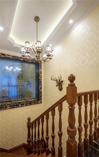 新古典美式风格别墅楼梯间装修效果图