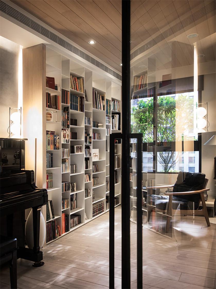 时尚混搭风格二居装修书架设计图