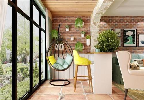 客厅与阳台无门实景图 没想到客厅和阳台打通这么美观