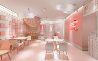 粉色系饮品店装修效果图