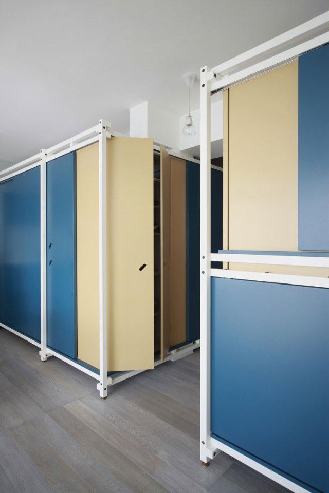 40㎡小户型公寓装修卧室整体格子架设计