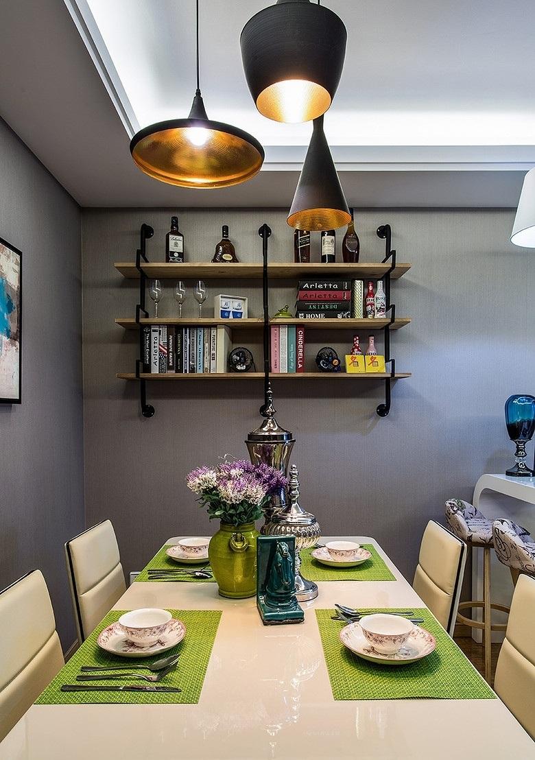 90㎡现代简约三居餐厅装修设计图
