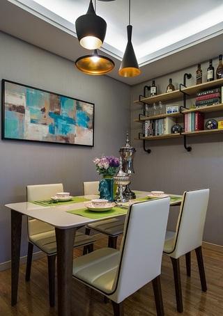 90㎡现代简约三居装修餐桌椅设计