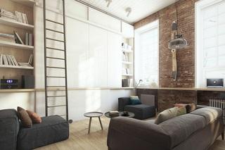 小户型Loft公寓客厅装修书架设计图