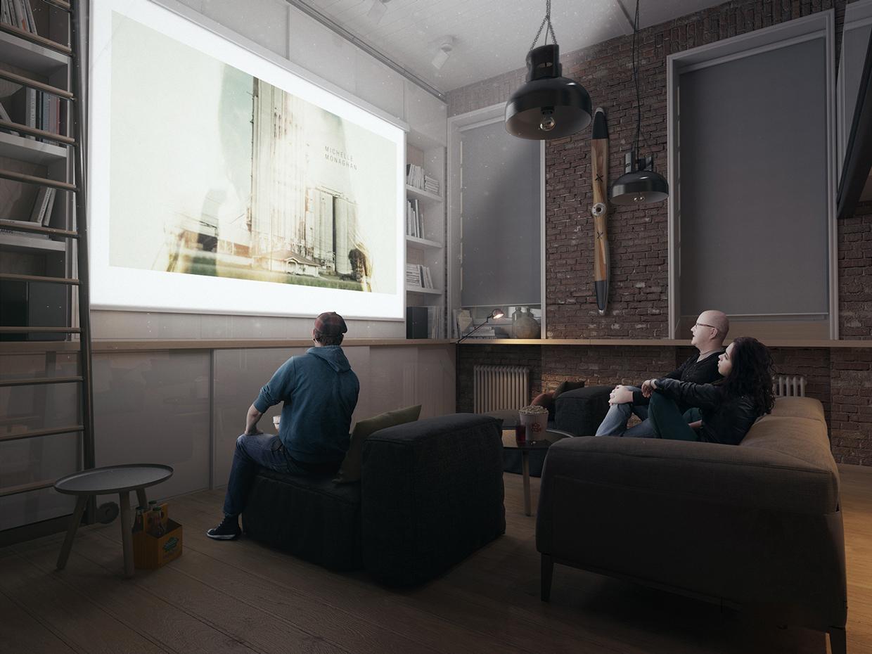 小户型Loft公寓装修投影墙效果图