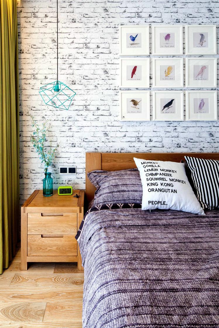 75平北欧风一居床头背景墙装修设计图
