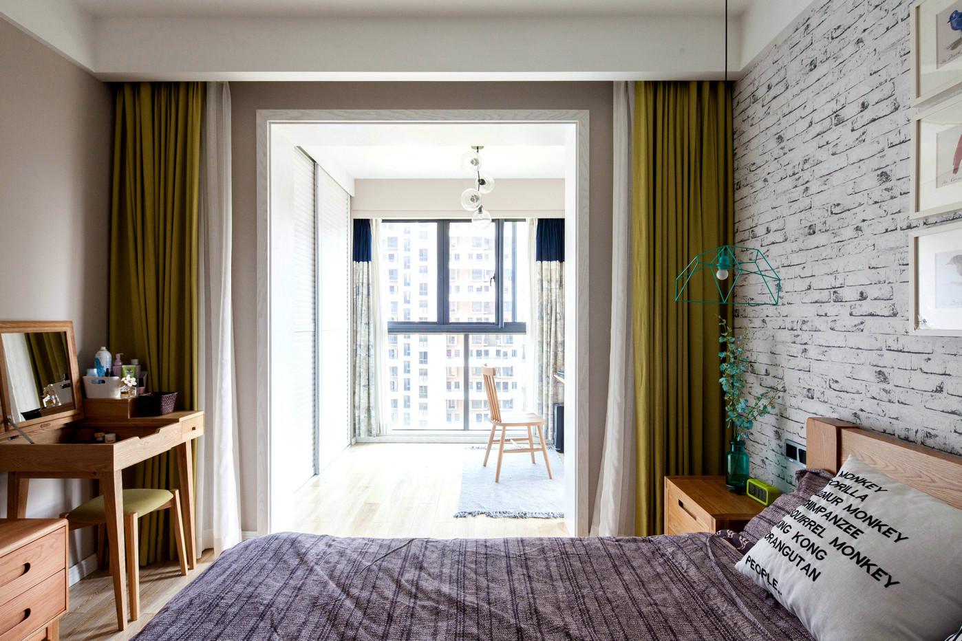 75平北欧风一居卧室阳台装修效果图