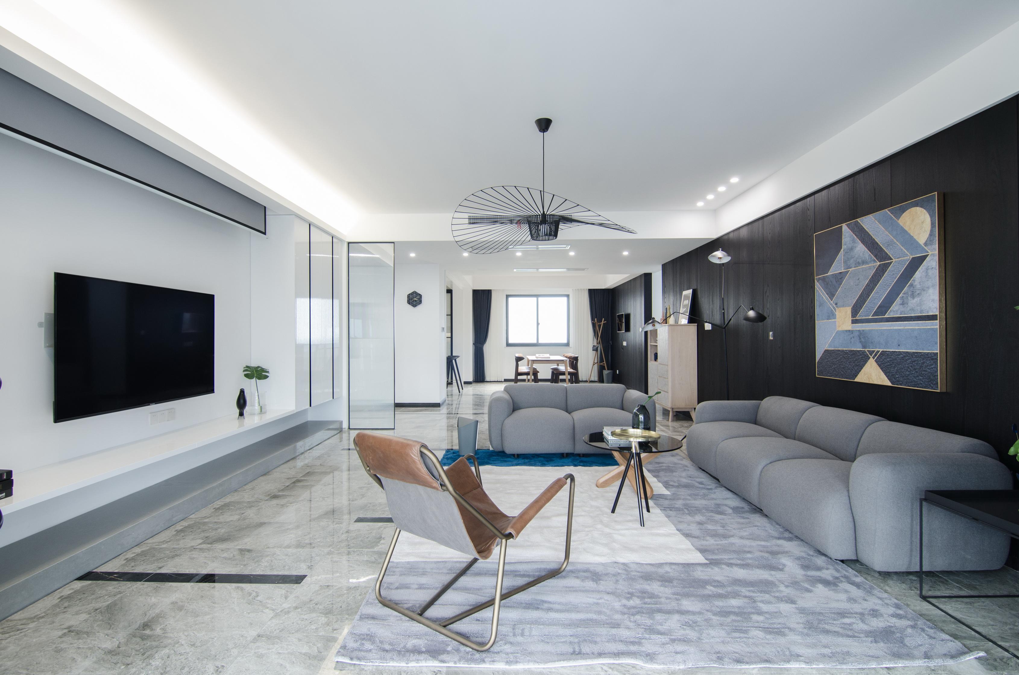 现代简约大户型客厅装修效果图