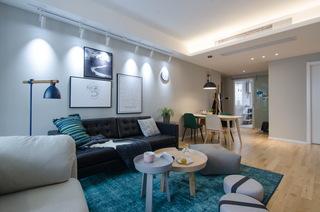 现代北欧风三居室沙发背景墙装修设计图