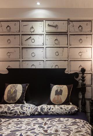 美式混搭三居室装修床头背景墙设计
