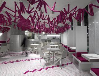 桃红色主题餐厅装修设计图