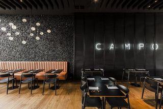 黑色现代风烧烤店装修设计图