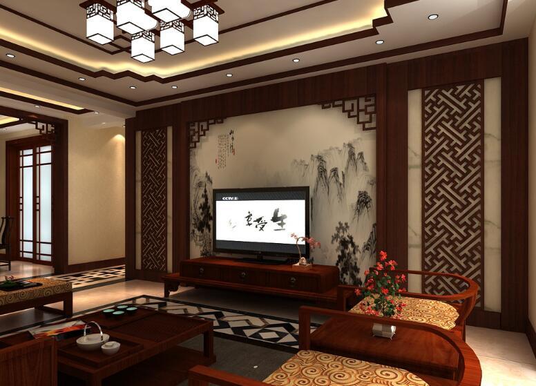 新中式风格装修效果图,吊顶黑色线条装饰室内背景... -家家优保