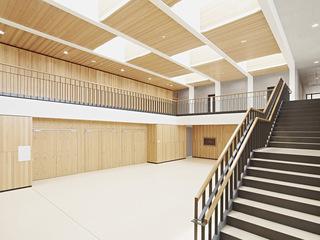 开放简约教学楼楼梯空间设计效果图