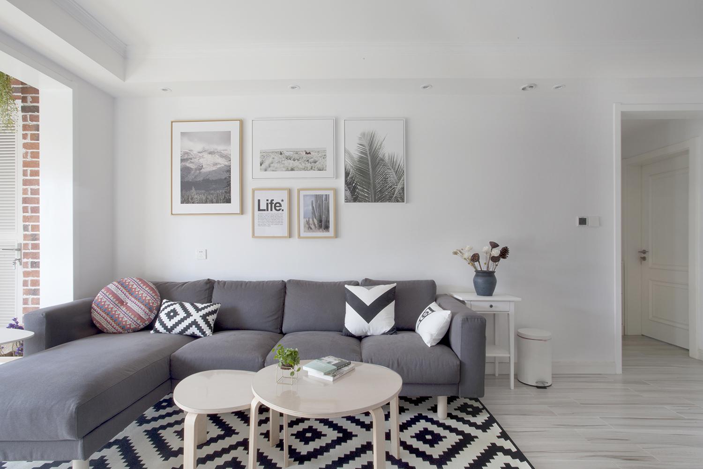 110平简约北欧风沙发背景墙装修效果图