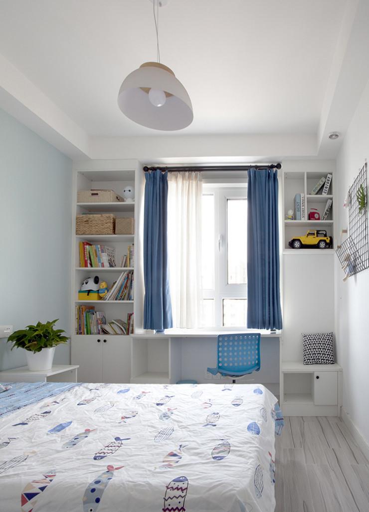 110平简约北欧风卧室书架装修效果图