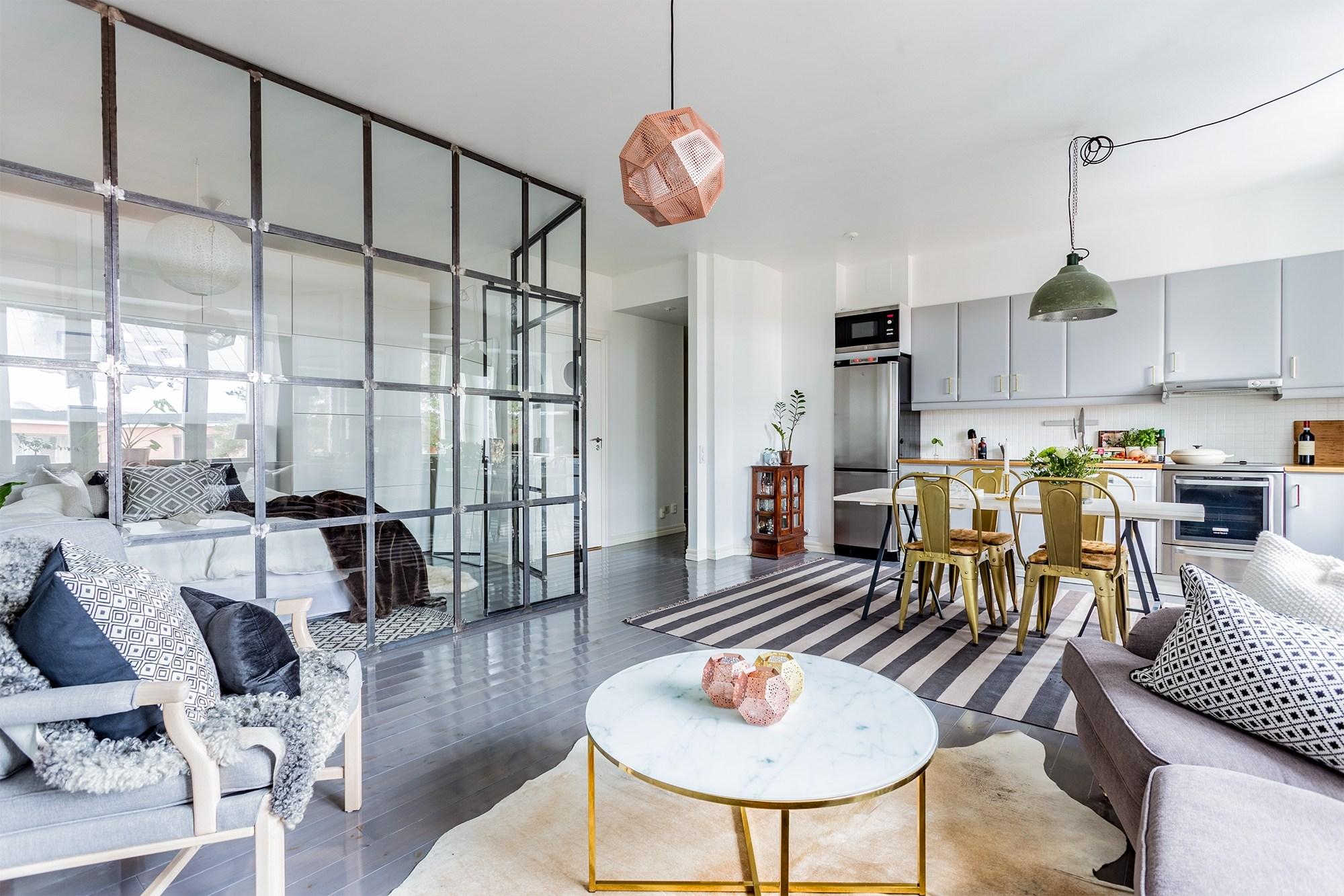 北欧风小户型公寓装修玻璃隔断效果图