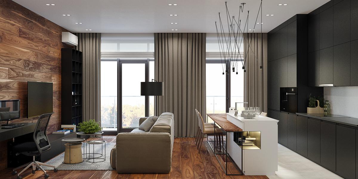 时尚简约单身公寓装修效果图