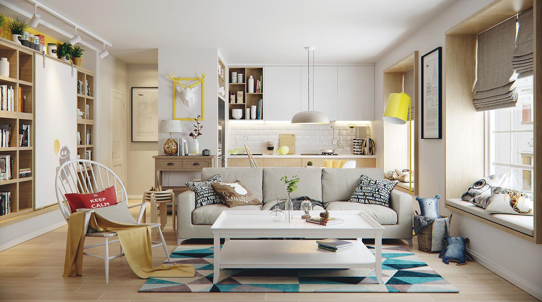 宜家风格公寓客厅装修效果图