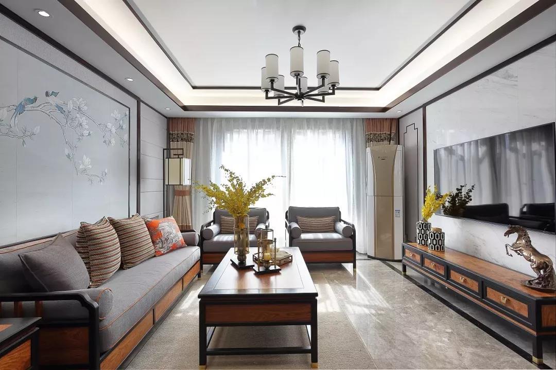 新中式风格大户型客厅装修设计图