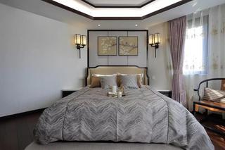 新中式风格大户型卧室背景墙装修设计图