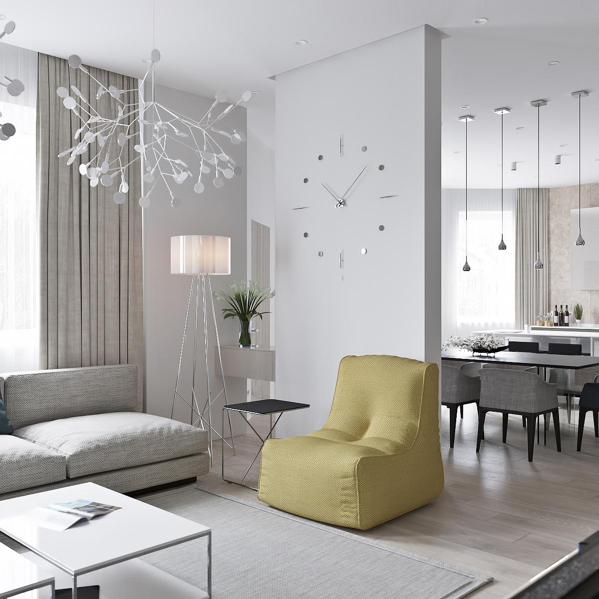 简约风格公寓客餐厅隔断装修设计效果图
