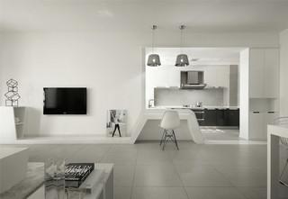 极简风格白色电视背景墙装修效果图