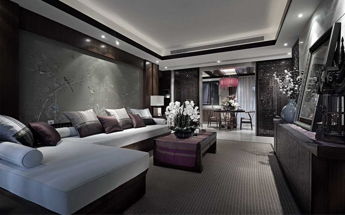 东南亚风格沙发背景墙装修效果图