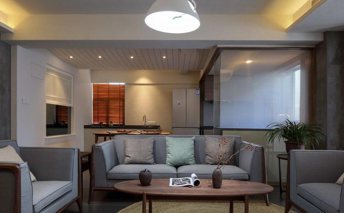 简约中式三居室客厅装修效果图