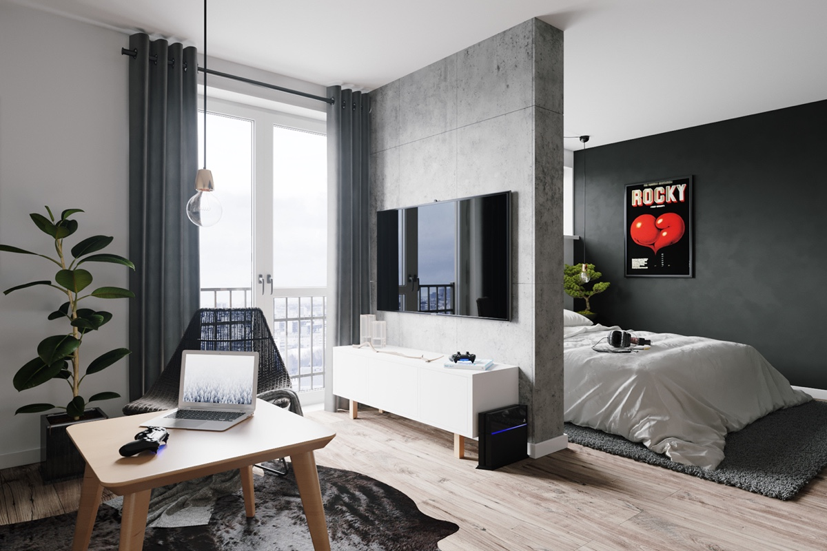 北欧风公寓电视背景墙隔断装修效果图