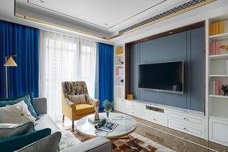法式风格三居室电视背景墙装修效果图