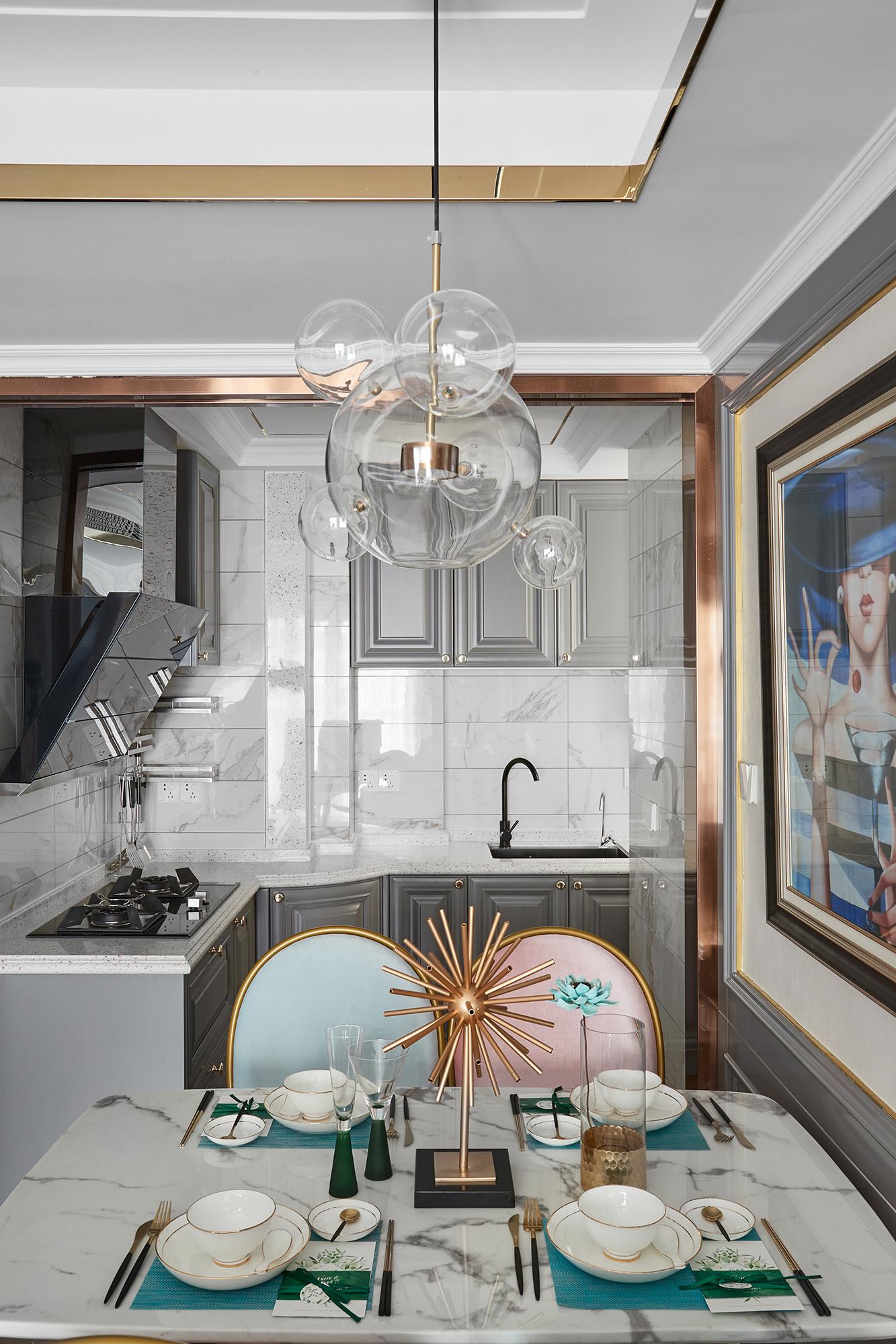 法式风格三居室厨房装修效果图
