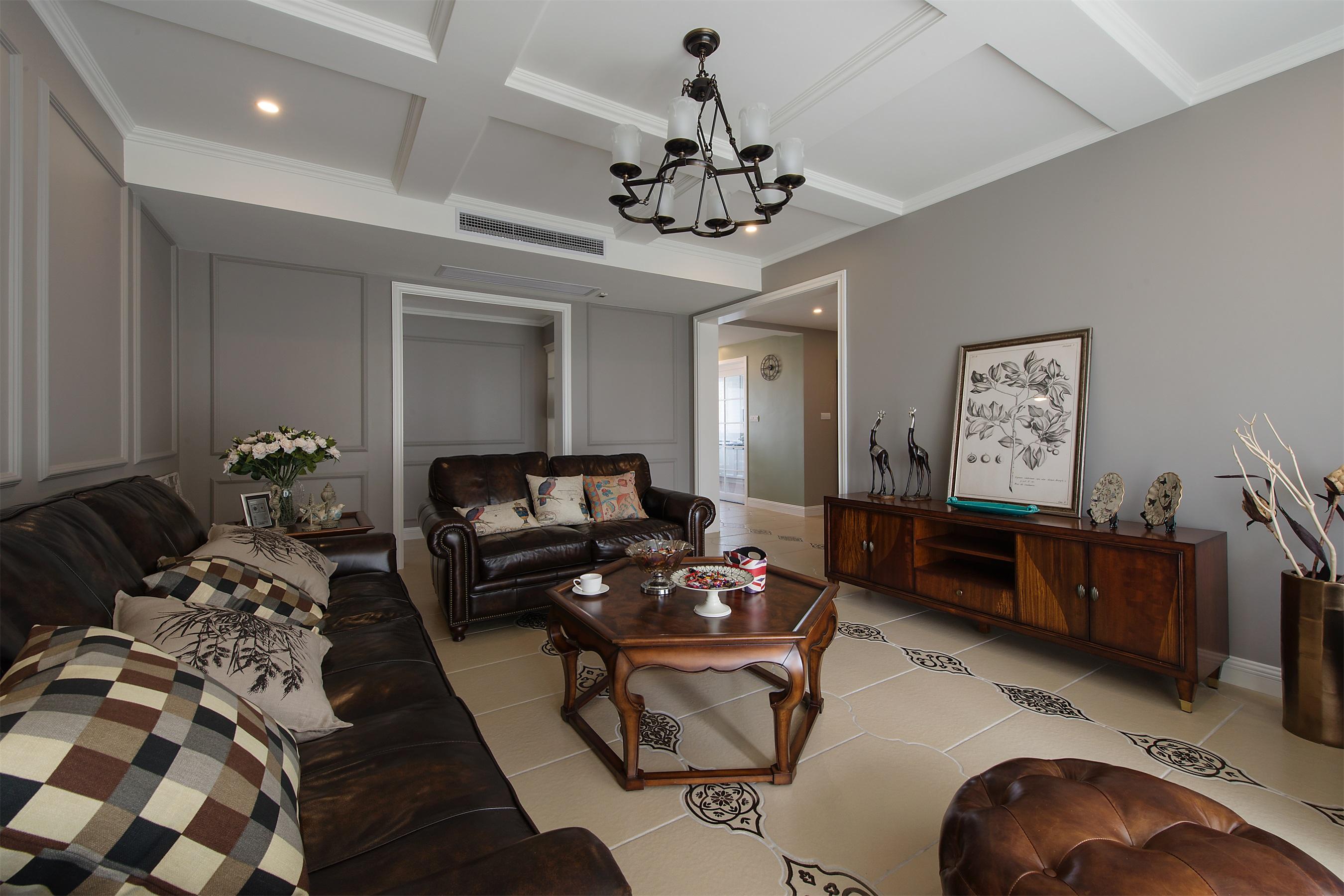 现代美式风三居客厅吊顶装修效果图