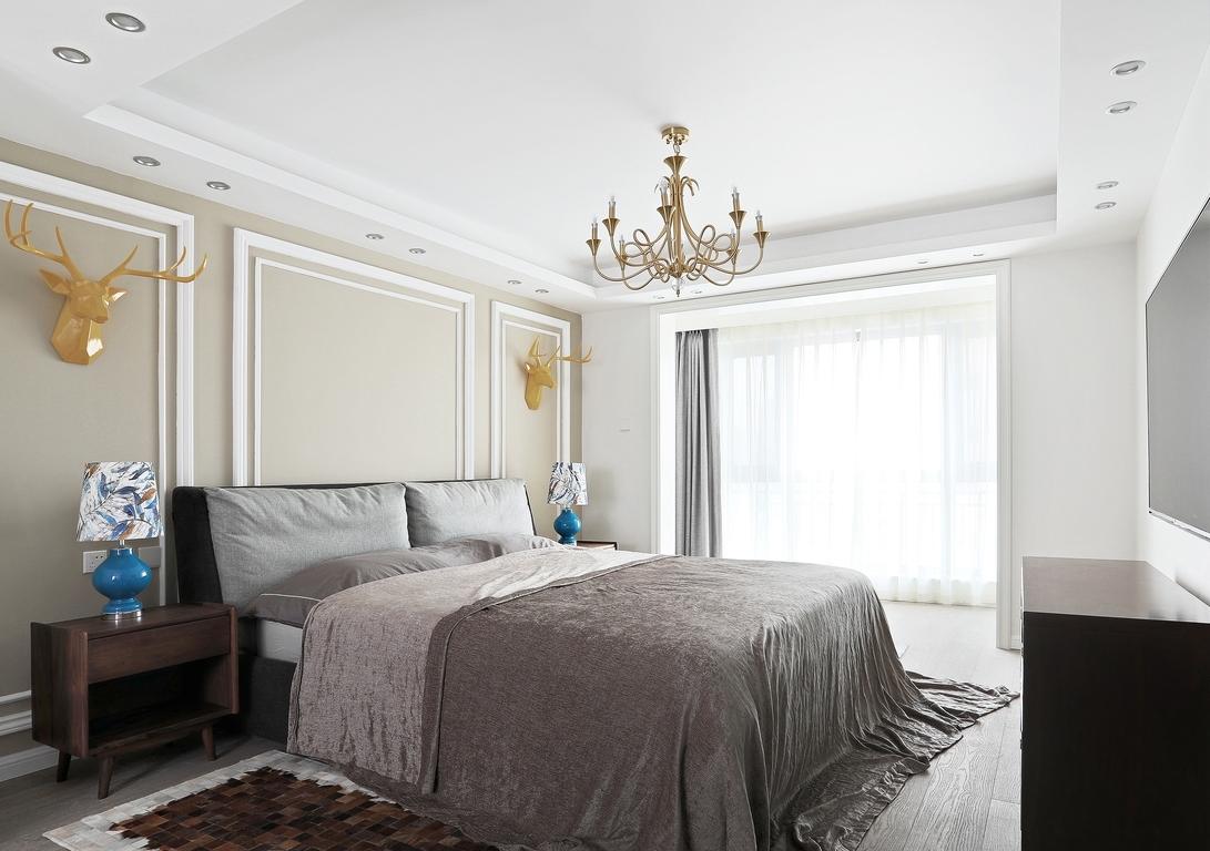现代美式混搭三居卧室装修效果图