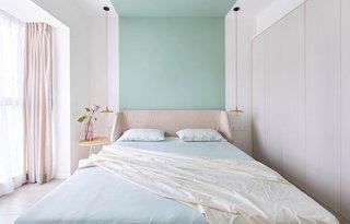 清新北欧风公寓卧室背景墙装修效果图