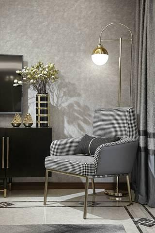 现代轻奢风格三居装修客厅休闲一角