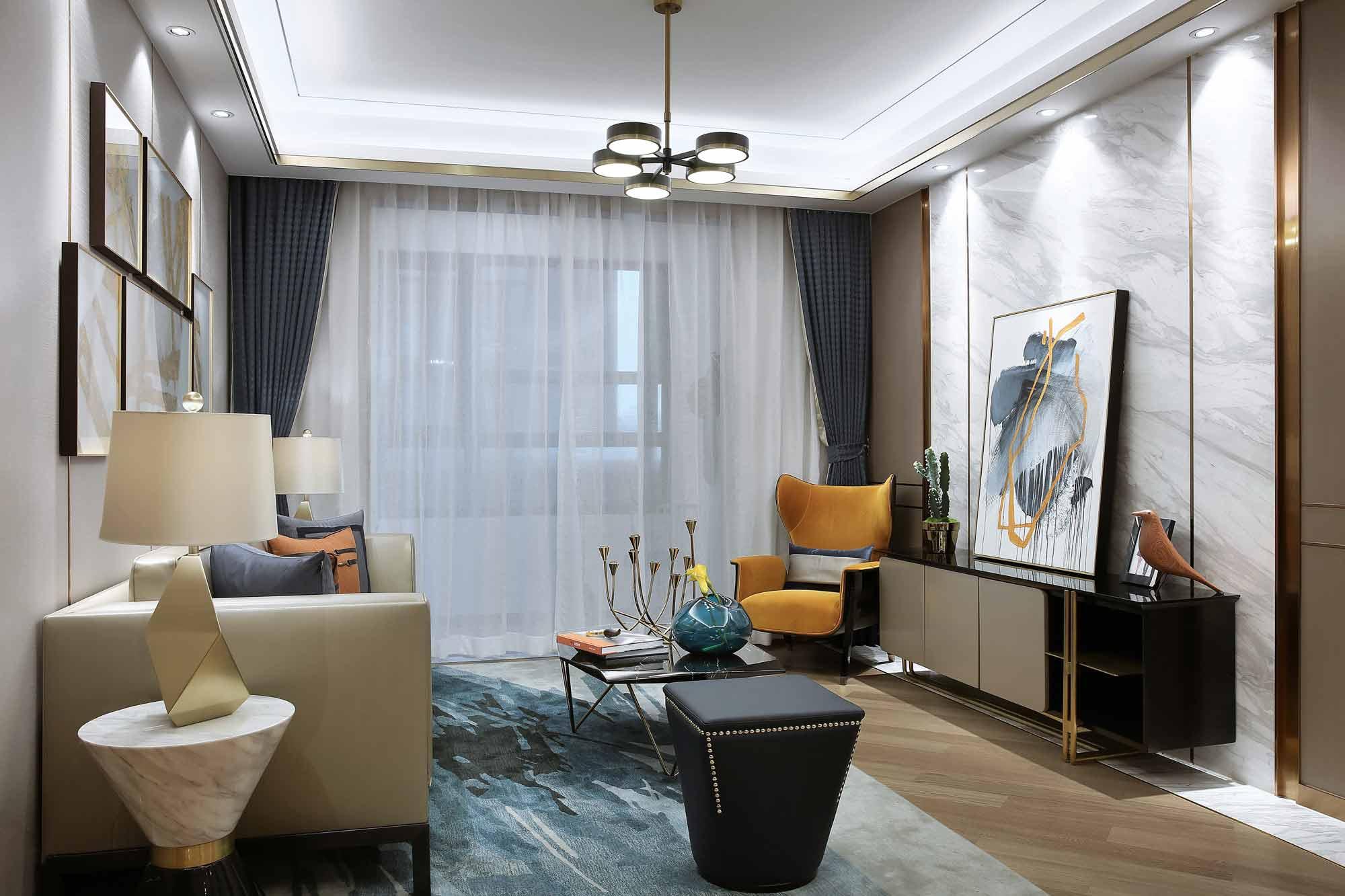 精致优雅三居室客厅装修效果图