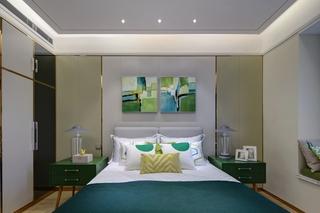 现代北欧风卧室背景墙装修效果图