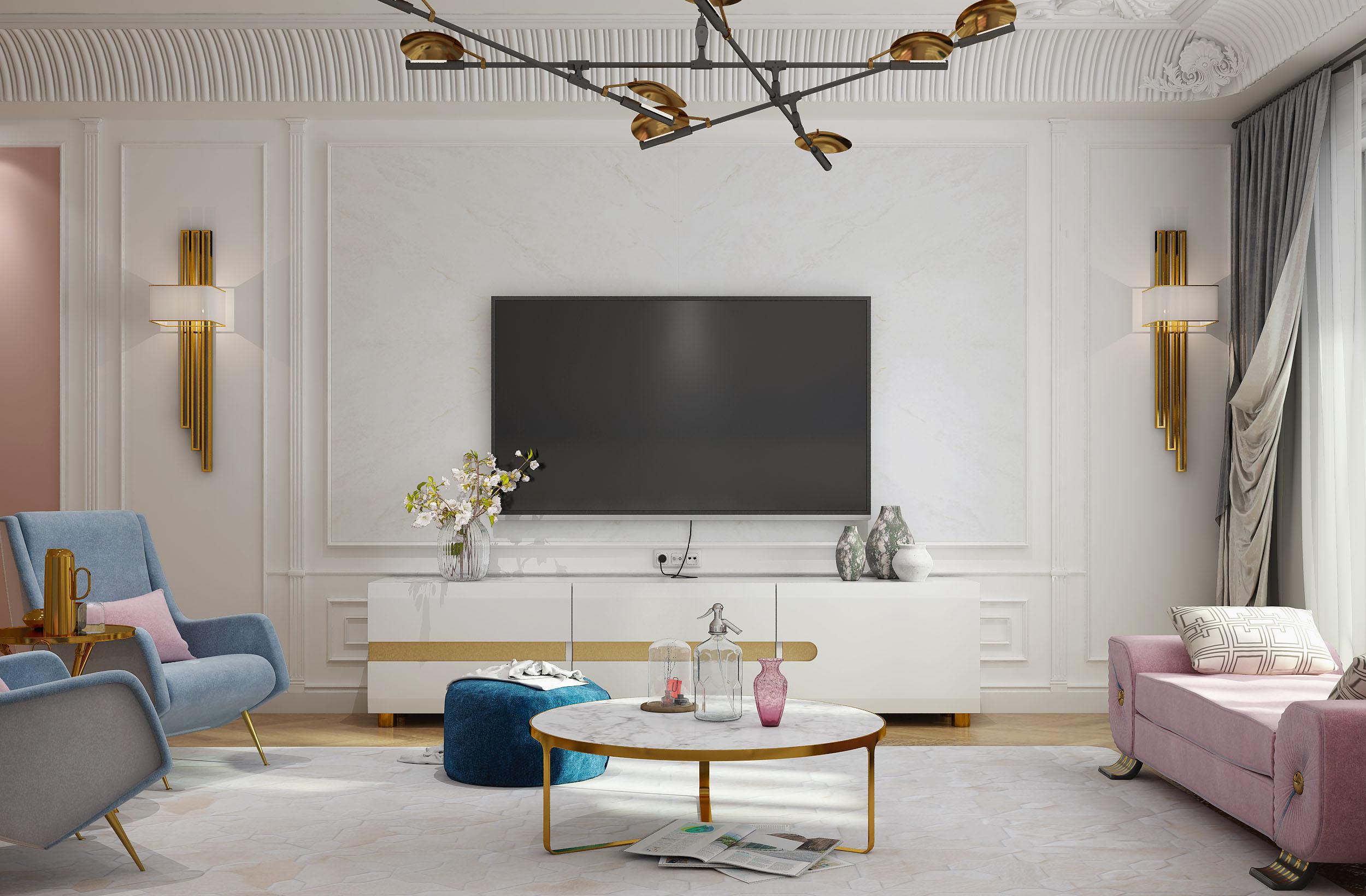 欧式古典风格电视背景墙装修效果图