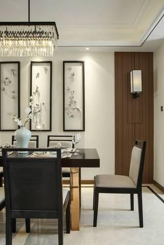 110平新中式风格餐厅背景墙装修效果图