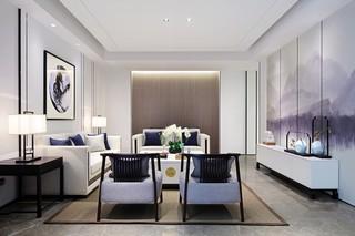 200㎡新中式风格客厅装修效果图