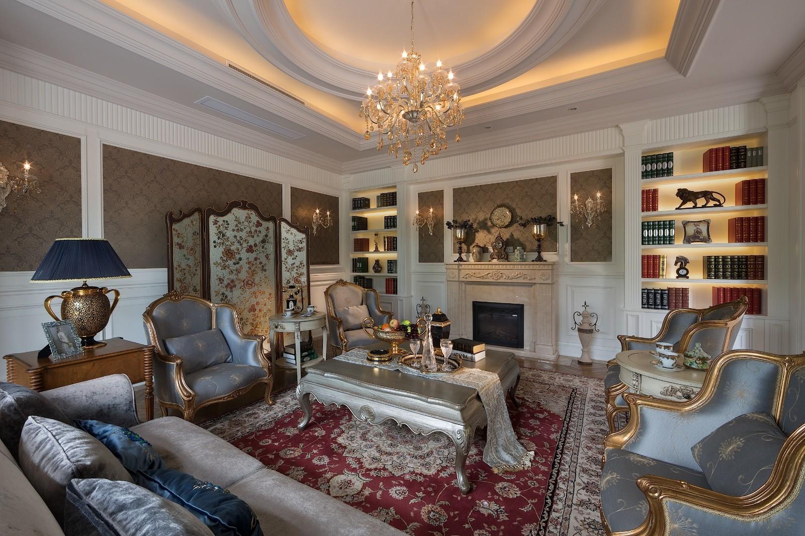 欧式风格别墅客厅装修设计效果图