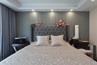 135平混搭风格卧室背景墙装修效果图