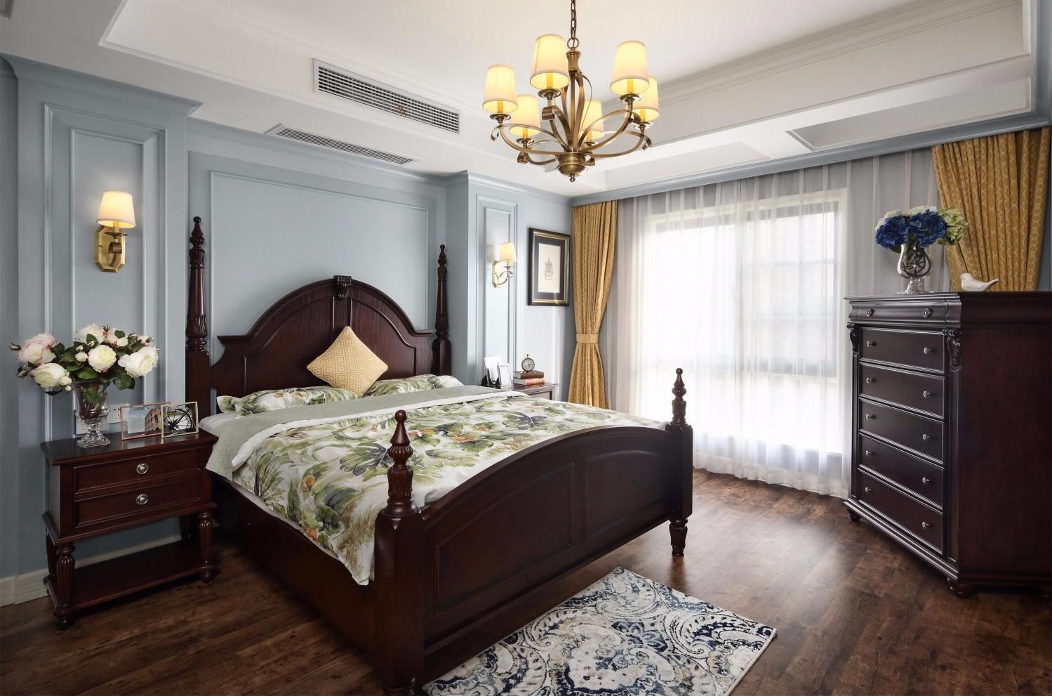 110平美式卧室装修效果图