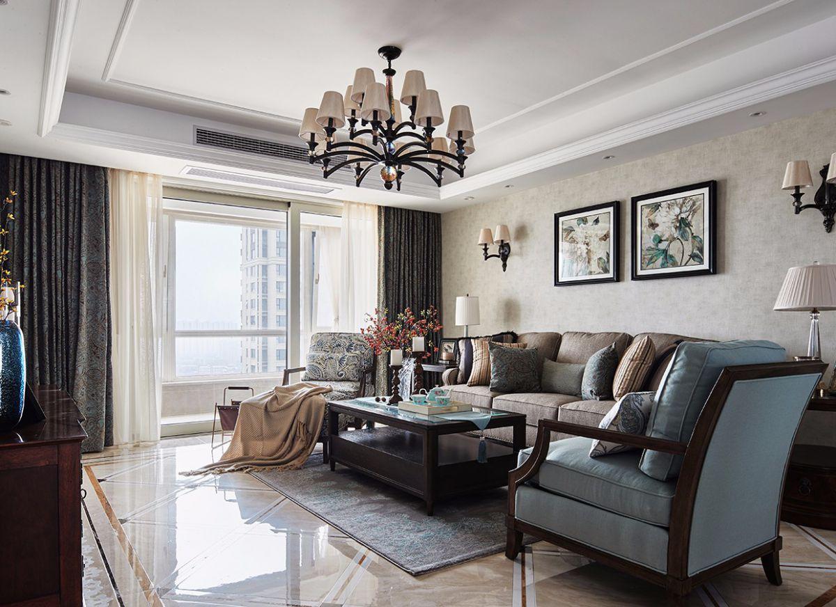 复古美式风格客厅吊顶装修效果图