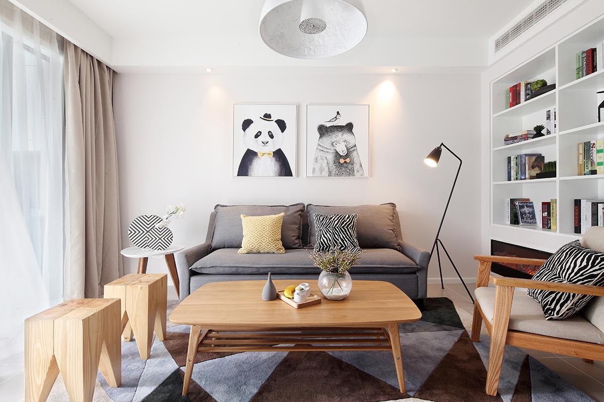 125㎡北欧风格沙发背景墙装修效果图