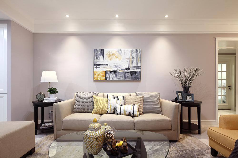 130㎡简美风格沙发背景墙装修效果图