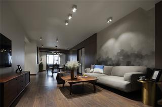200㎡现代简约沙发背景墙装修效果图